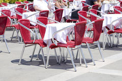 Empty tables of sidewalk cafe Stock Image