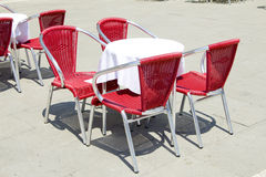 Empty tables of sidewalk cafe Royalty Free Stock Photo