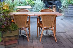 Empty tables of street cafes Stock Image