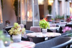 Empty tables of street cafes Royalty Free Stock Photography