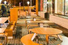 Empty tables of street cafes in  evening Stock Image