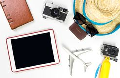 Empty tablet screen with summer travel fashion objects Royalty Free Stock Photo