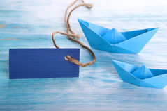 Empty Tag with Boats Royalty Free Stock Photography