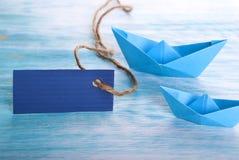 Empty tag con los barcos Fotografía de archivo libre de regalías
