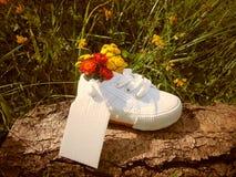 Empty tag sur la petite chaussure de bébé avec des fleurs/annonce de grossesse photo libre de droits