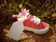 Empty tag sur la petite chaussure de bébé avec des fleurs/annonce de grossesse photographie stock libre de droits