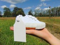 Empty tag sur la petite chaussure de bébé avec des fleurs/annonce de grossesse images stock