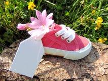 Empty tag sur la petite chaussure de bébé avec des fleurs/annonce de grossesse image libre de droits