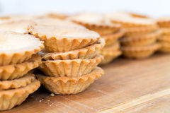Empty Tartlets on Wooden Table Stock Image
