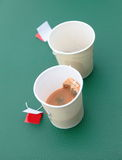 Empty Tea cups. With used tea bags Royalty Free Stock Photography