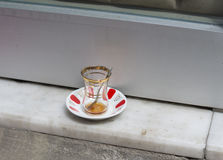 Empty tea glass in istanbul Royalty Free Stock Images