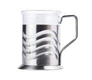 Empty tea glass in metal enclosure Stock Images