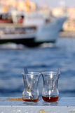 Empty tea glasses on the railings in Istanbul Turkey royalty free stock photo