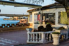 Empty Tea House At Winter Day - Turkey. Empty tea house in the daytime of Cinarcik town which is the district of Yalova city that is two hours away from the big Royalty Free Stock Images