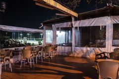 Empty Tea House At Winter Night - Turkey. Empty tea house in the night of Cinarcik town which is the district of Yalova city that is two hours away from the big Stock Image