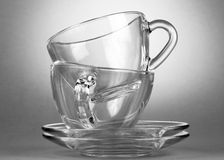 Empty tea saucer cups Royalty Free Stock Images
