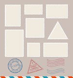 Empty Template Blank Postage Stamps Set. Vector Royalty Free Stock Photography