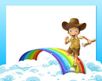 An empty template and a boy running over the rainbow with a scro Royalty Free Stock Photo