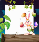 An empty template with a bunny juggling the eggs Royalty Free Stock Images
