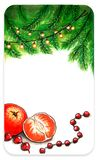 Empty template card for New Year. Markers drawing for New Year with beads garland tree branches and tangerine Royalty Free Stock Photo