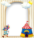 An empty template with a circus tent and a male clown. Illustration of an empty template with a circus tent and a male clown Royalty Free Stock Photography