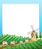 An empty template with a farm and cows at the bottom Royalty Free Stock Photo
