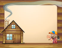 An empty template with a house and a woodman carrying an axe Royalty Free Stock Images