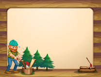 An empty template with a man chopping woods in front royalty free illustration