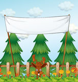 An empty template near the fence with a brown rabbit. Illustration of an empty template near the fence with a brown rabbit Royalty Free Stock Photos