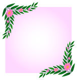 An empty template with pink floral border Royalty Free Stock Photos