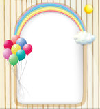 An empty template with a rainbow and balloons Royalty Free Stock Photography