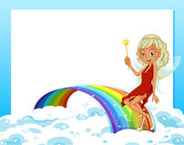 An empty template with a rainbow and a fairy Stock Images