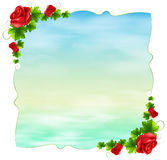An empty template with red roses Royalty Free Stock Photos