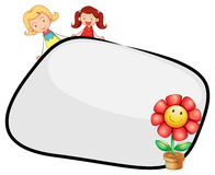 An empty template with two girls and a flower Stock Photography