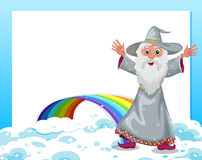 An empty template with a wizard and a rainbow Stock Photo