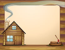 An empty template with a wooden house Stock Photo