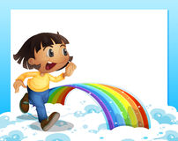 An empty template with a young girl running and a rainbow. Illustration of an empty template with a young girl running and a rainbow vector illustration