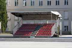 Empty temporary tribune. With red seats Stock Image