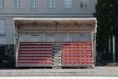 Empty temporary tribune. With red seats Stock Photo