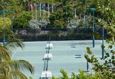 Empty tennis court in a surrounding of the tropical nature Stock Photos