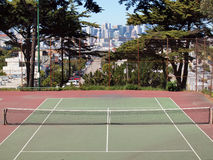 Empty tennis court in on the top of Potrero Hill Royalty Free Stock Photos