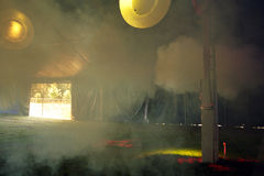 Empty tent. At a festival filled with smoke Royalty Free Stock Images