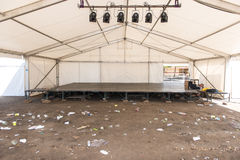 Empty tent with stage after a party Stock Photo