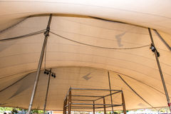 Empty tent with stage after a party Royalty Free Stock Photography