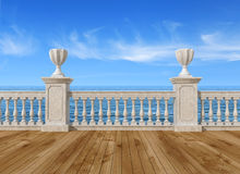 Empty terrace with balustrade. Empty terrace overlooking the sea with concrete balustrade and wooden floor - rendering- the image on background is a my rendering Stock Photography