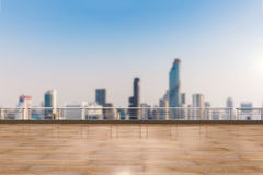 Empty terrace on cityscape background royalty free stock images