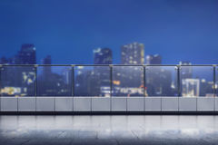 Empty terrace of modern office building. At night Royalty Free Stock Image