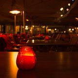 Empty terrace at night in Maastricht royalty free stock photo