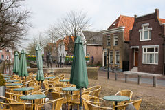 Empty terrace in an old traditional Dutch village Stock Images
