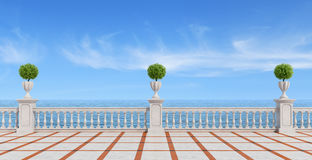 Empty terrace overlooking the sea. With concrete balustrade and tiled floor- rendering Stock Photo